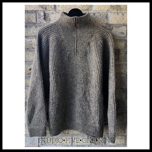 TIMBERLAND Mock Neck Wool 1/4 Zip Sweater